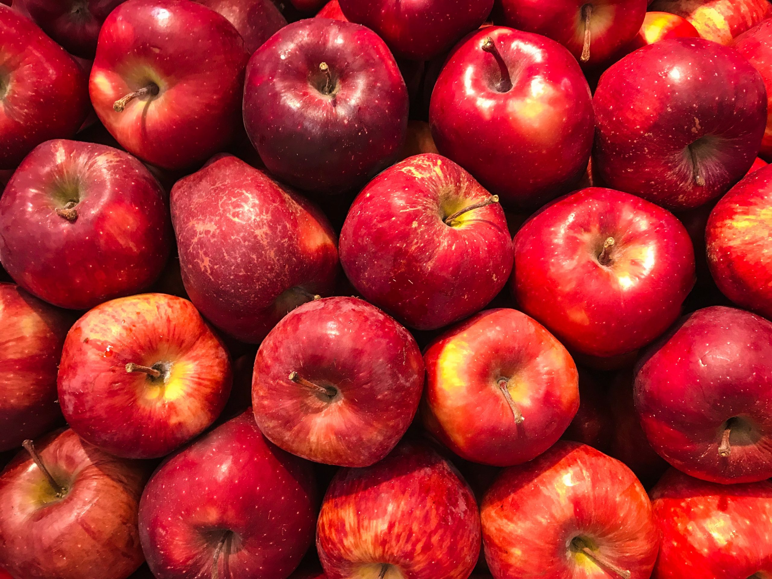 Juicy bright red apples