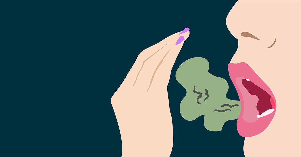 Cartoon graphic with a mouth breathing a green bad breath cloud.